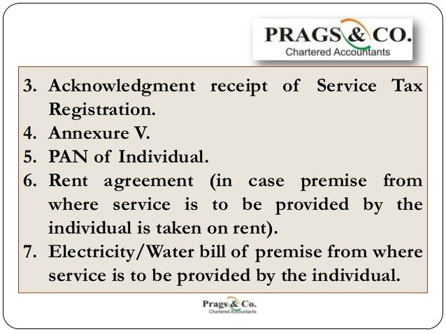 annexure v for service tax registration