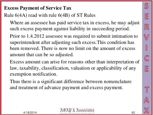Service tax rules sushil aggarwal excess payment spiritdancerdesigns Gallery