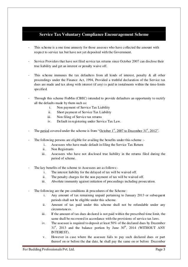 Voluntary compliance encouragement scheme 2013.