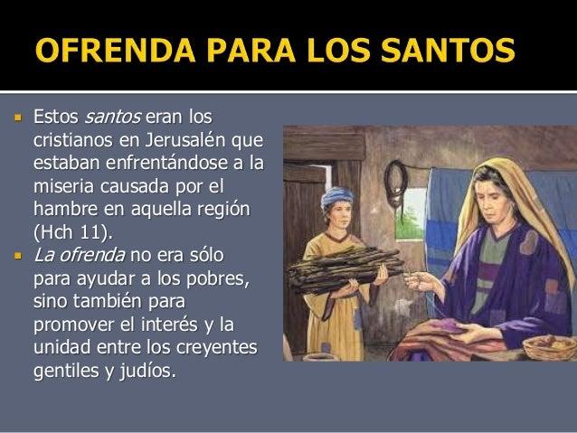 Resultado de imagen de La ofrenda para los creyentes de Jerusalén