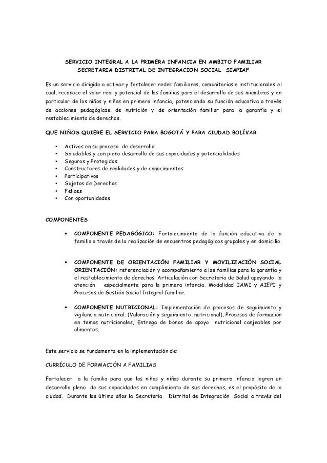 SERVICIO INTEGRAL A LA PRIMERA INFANCIA EN AMBITO FAMILIAR              SECRETARIA DISTRITAL DE INTEGRACION SOCIAL SIAPIAF...