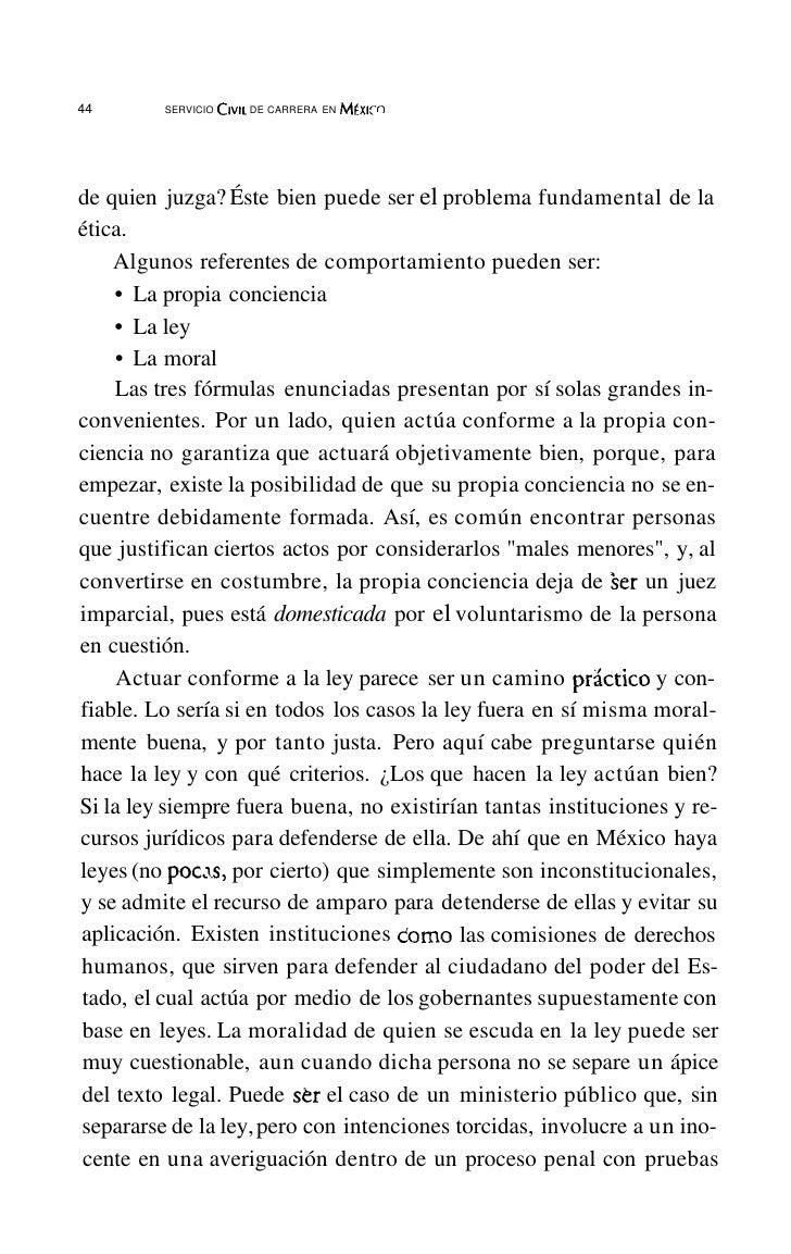 48          SERVICIOCIVIL DE CARRERAEN Mtxlco      un régimen jurídico de derecho público, y que lleva como finalidad aten...
