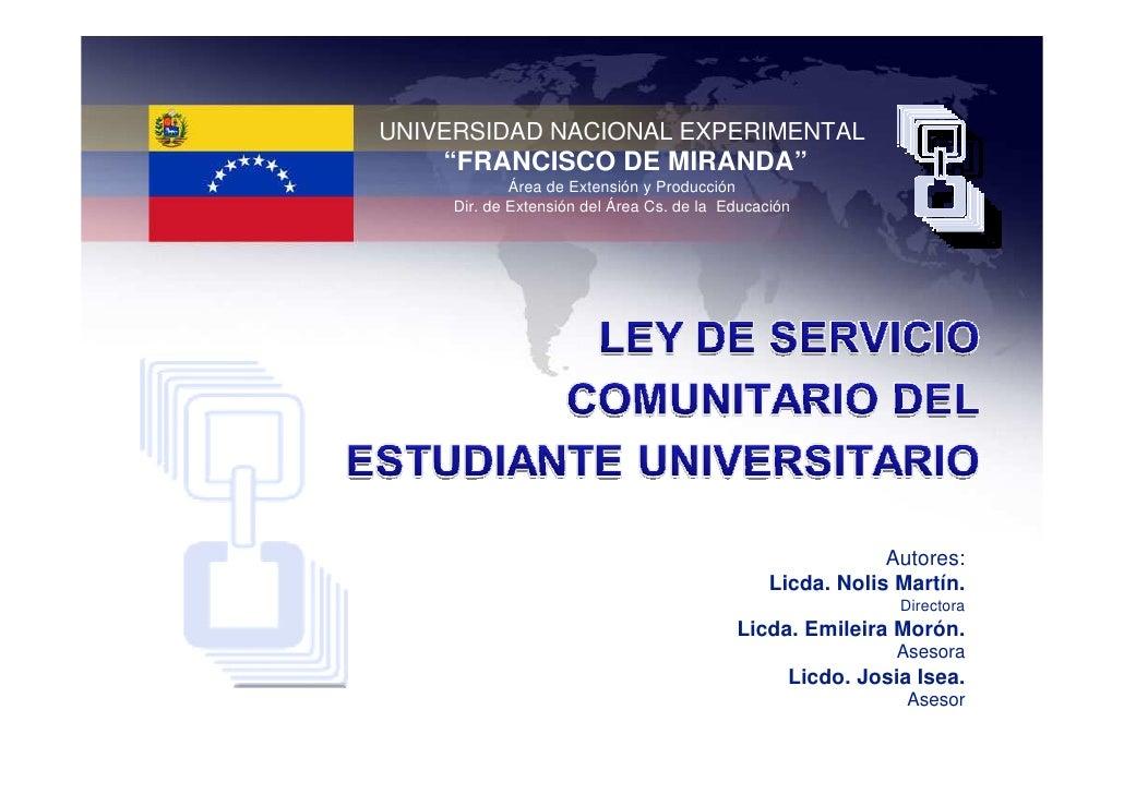 """UNIVERSIDAD NACIONAL EXPERIMENTAL     """"FRANCISCO DE MIRANDA""""              Área de Extensión y Producción      Dir. de Exte..."""