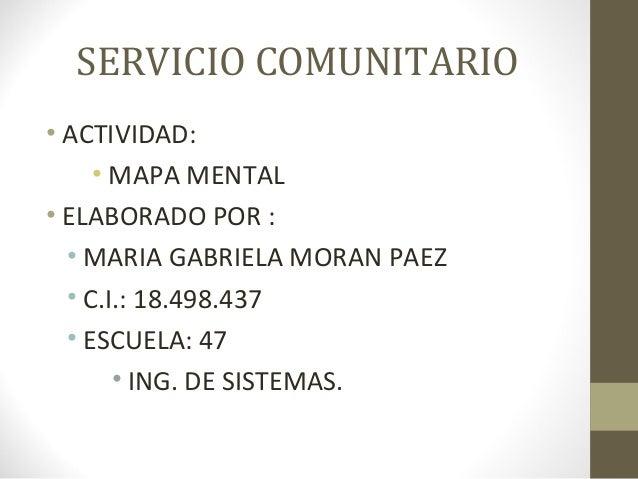 SERVICIO COMUNITARIO• ACTIVIDAD:• MAPA MENTAL• ELABORADO POR :• MARIA GABRIELA MORAN PAEZ• C.I.: 18.498.437• ESCUELA: 47• ...