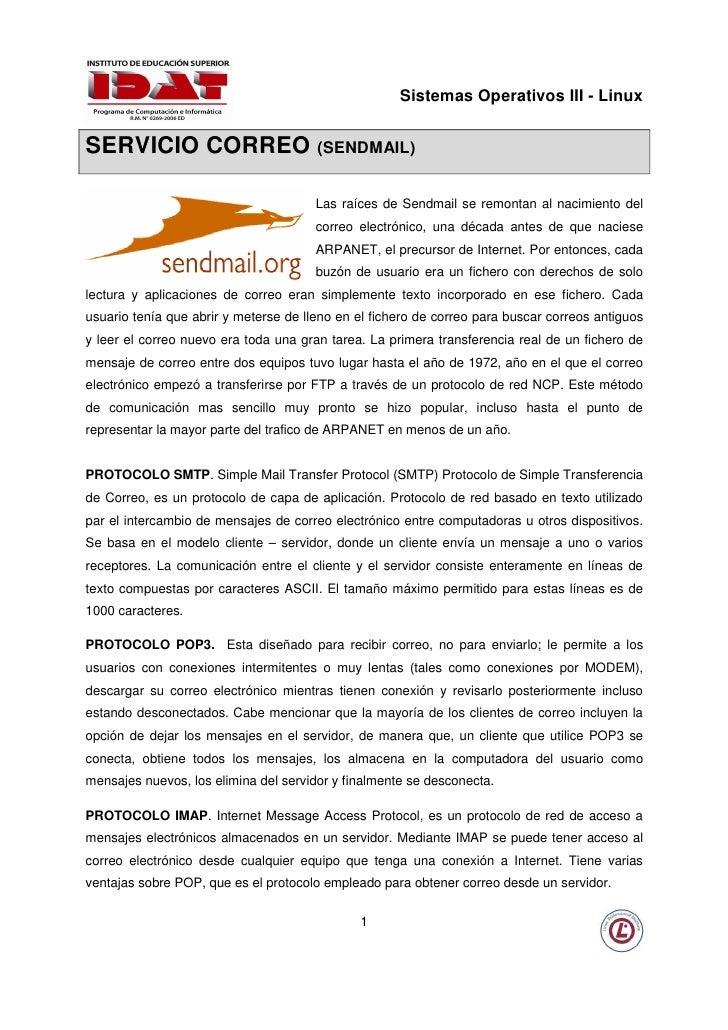 Sistemas Operativos III - Linux   SERVICIO CORREO (SENDMAIL)                                         Las raíces de Sendmai...
