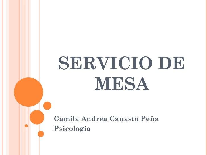 SERVICIO DE MESA Camila Andrea Canasto Peña Psicología