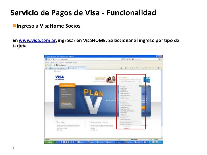Servicio de Pagos VisaServicio de Pagos de Visa - FuncionalidadIngreso a VisaHome SociosEn www.visa.com.ar, ingresar en V...