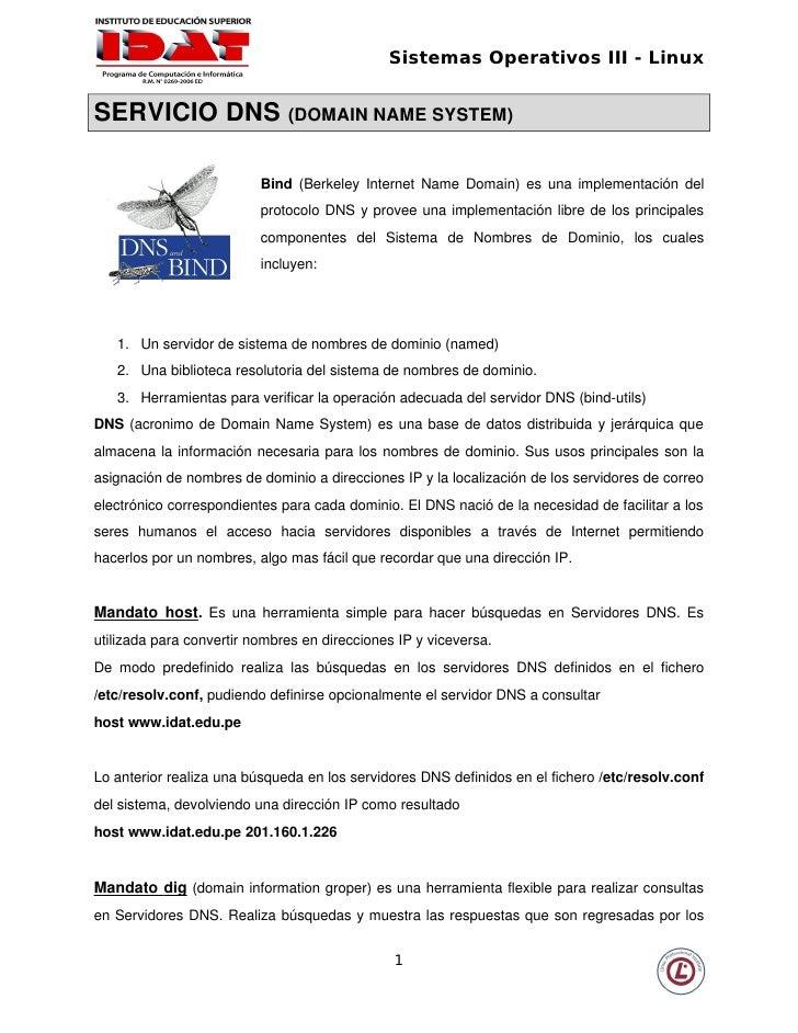 Sistemas Operativos III - Linux   SERVICIODNS(DOMAINNAMESYSTEM)                                Bind (BerkeleyInterne...