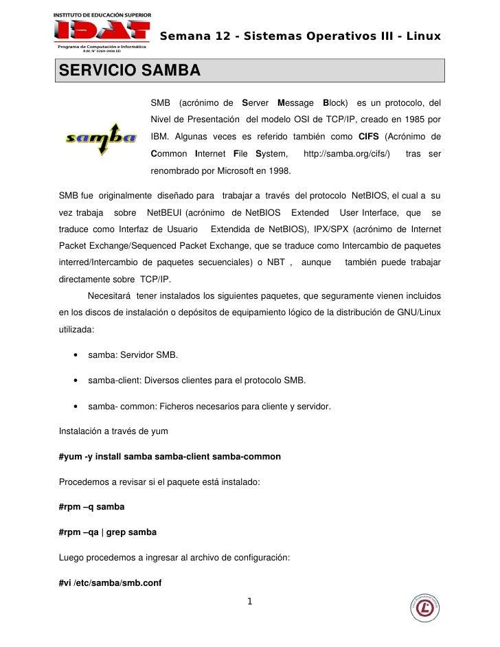 Semana 12 - Sistemas Operativos III - Linux   SERVICIOSAMBA                           SMB  (acrónimo  de  Server  ...