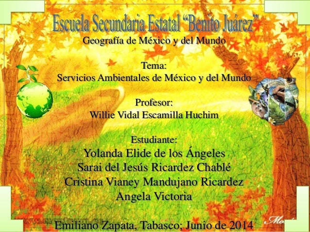 Geografía de México y del Mundo Tema: Servicios Ambientales de México y del Mundo Profesor: Willie Vidal Escamilla Huchim ...