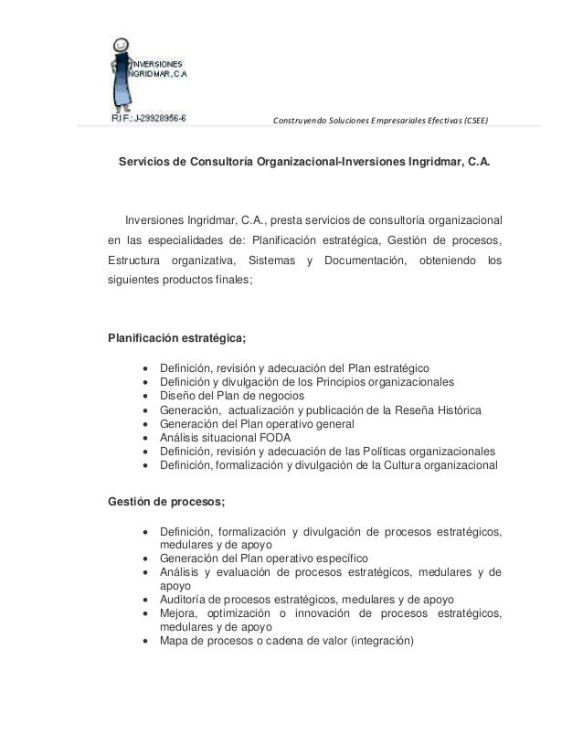 Construyendo Soluciones Empresariales Efectivas (CSEE)  Servicios de Consultoría Organizacional-Inversiones Ingridmar, C.A...
