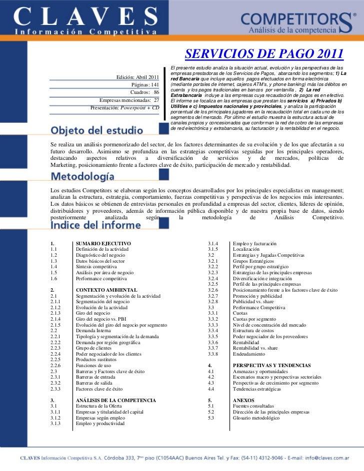 SERVICIOS DE PAGO 2011                                                        El presente estudio analiza la situación act...