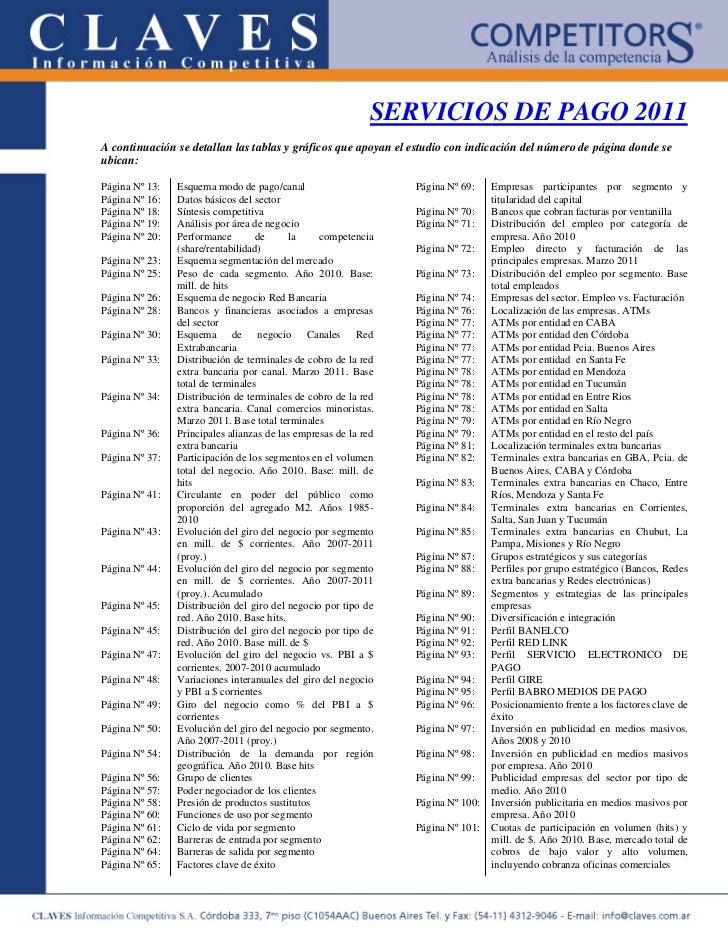 SERVICIOS DE PAGO 2011A continuación se detallan las tablas y gráficos que apoyan el estudio con indicación del número de ...
