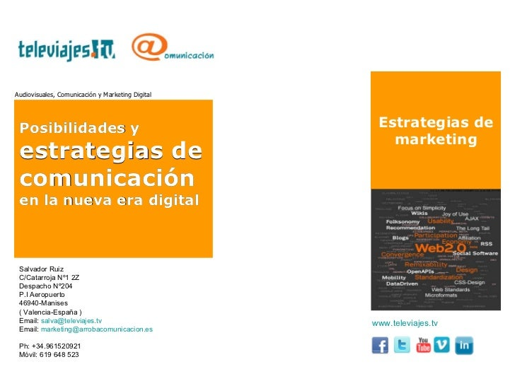 Estrategias de marketing Audiovisuales, Comunicación y Marketing Digital Posibilidades y  estrategias de comunicación  en ...