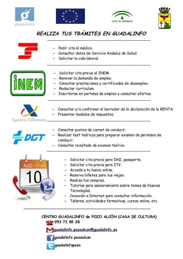 REALIZA TUS TRÁMITES EN GUADALINFO – Pedir cita al médico. – Consultar datos de Servicio Andaluz de Salud. – Solicitar la ...