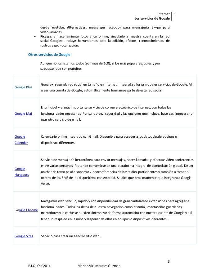 Internet Los servicios de Google 3 3 P.I.O. Csif 2014 Marian Virumbrales Guzmán desde Youtube. Alternativas: messenger fac...