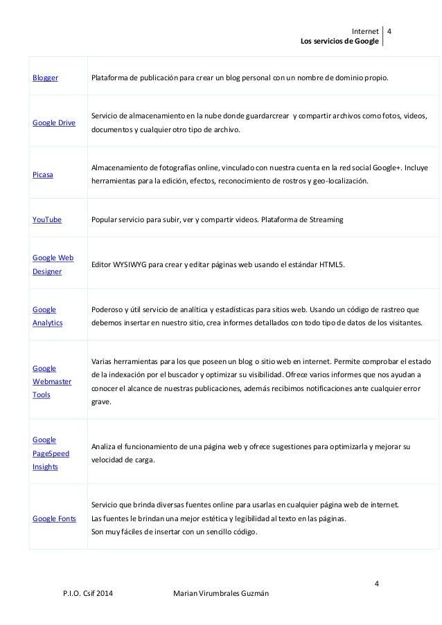 Internet Los servicios de Google 4 4 P.I.O. Csif 2014 Marian Virumbrales Guzmán Blogger Plataforma de publicación para cre...