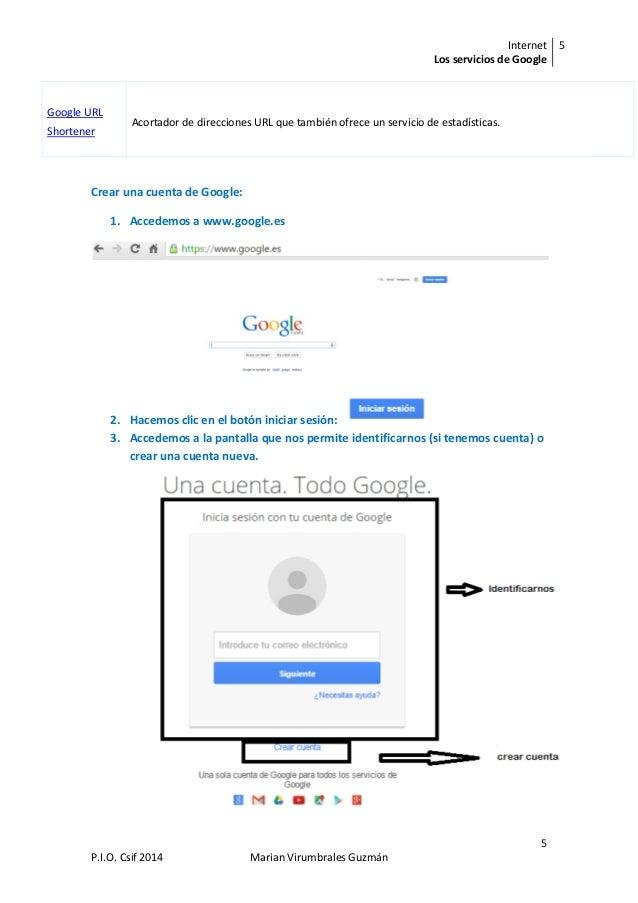 Internet Los servicios de Google 5 5 P.I.O. Csif 2014 Marian Virumbrales Guzmán Google URL Shortener Acortador de direccio...