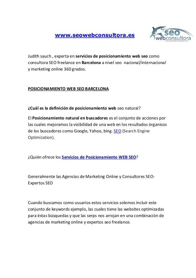 www.seowebconsultora.es Judith sauch , experta en servicios de posicionamiento web seo como consultora SEO freelance en Ba...