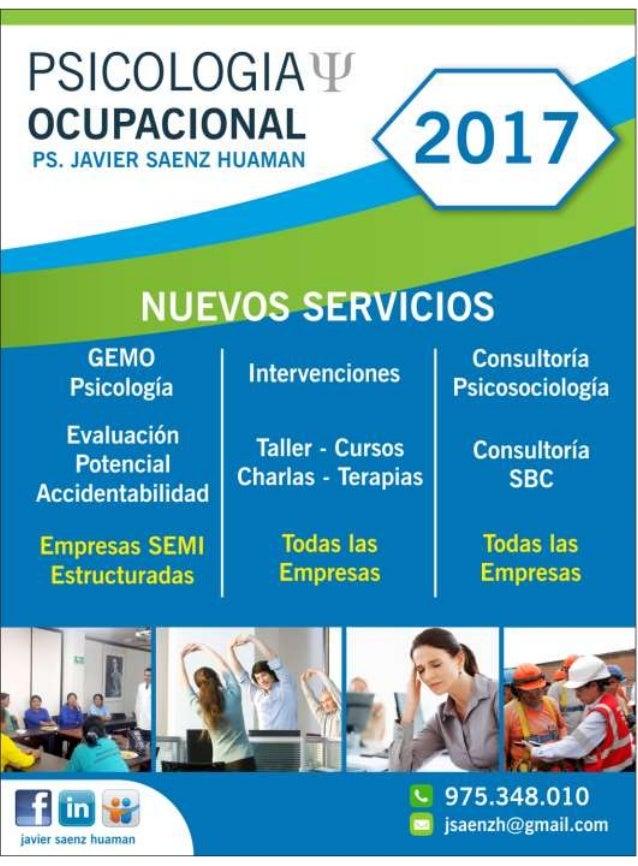 Servicios psicologia  ocupacional 2017 Slide 2