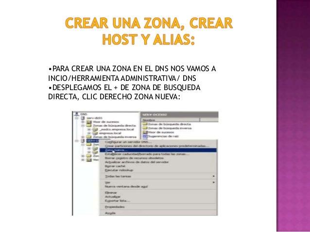 •PARA CREAR UNA ZONA EN EL DNS NOS VAMOS A INCIO/HERRAMIENTA ADMINISTRATIVA/ DNS •DESPLEGAMOS EL + DE ZONA DE BUSQUEDA DIR...