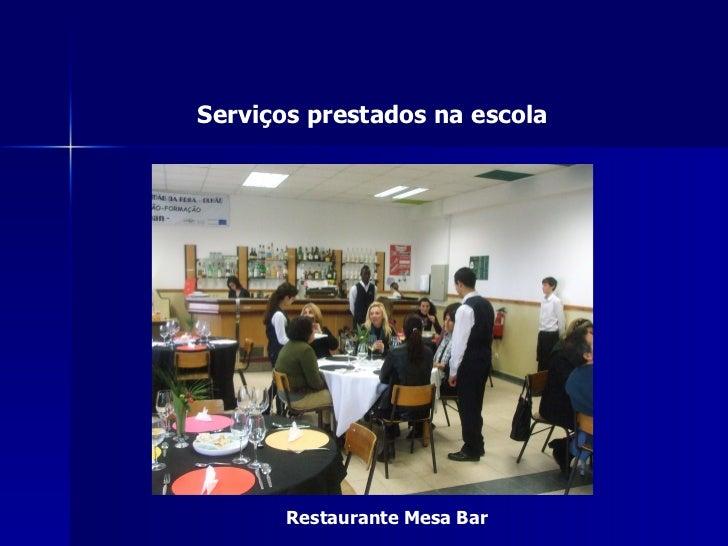 Serviços prestados na escola       Restaurante Mesa Bar