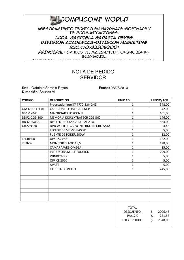 NOTA DE PEDIDO SERVIDOR Srta.: Gabriela Sarabia Reyes Fecha: 08/07/2013 Dirección: Sauces VI CODIGO DESCRIPCION UNIDAD PRE...