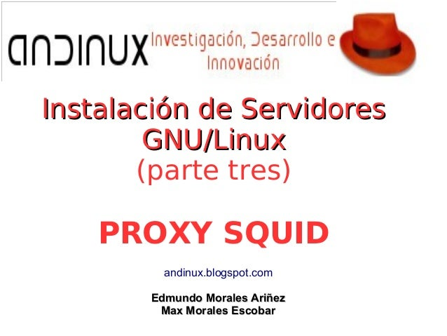 Instalación de ServidoresInstalación de Servidores GNU/LinuxGNU/Linux (parte tres) PROXY SQUID andinux.blogspot.com Edmund...