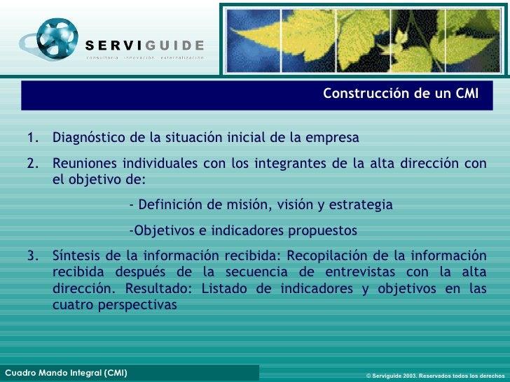 Fases de implantación Construcción de un CMI 1. Diagnóstico de la situación inicial de la empresa 2. Reuniones individuale...