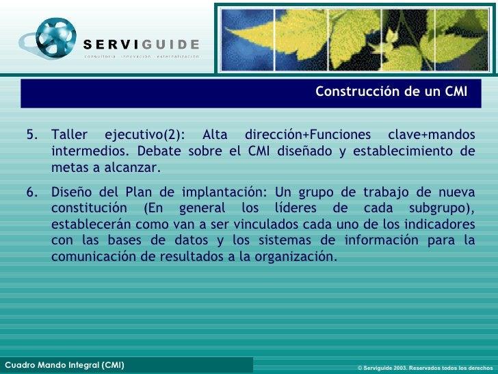 Fases de implantación Construcción de un CMI 5. Taller ejecutivo(2): Alta dirección+Funciones clave+mandos intermedios. De...