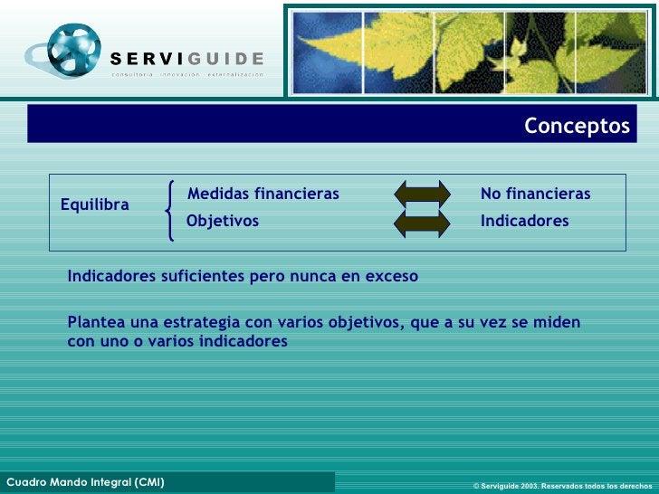 Conceptos M edidas financieras Equilibra Objetivos Indicadores N o financieras Indicadores suficientes pero nunca en exces...