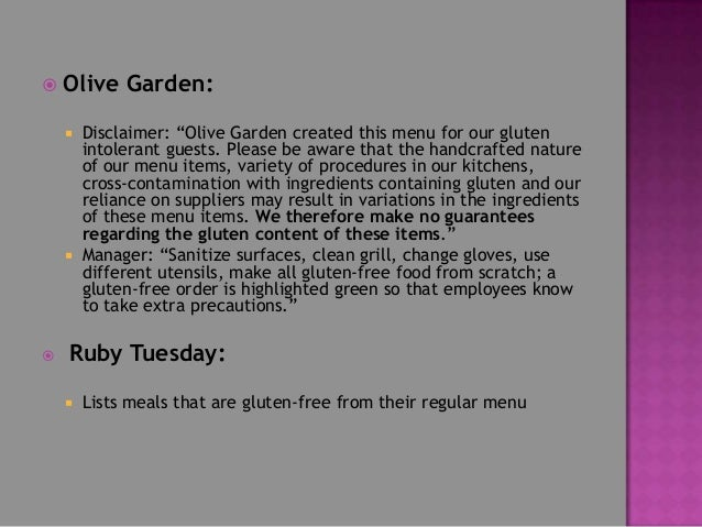 Serving gluten free at slh - Gluten free menu at olive garden ...