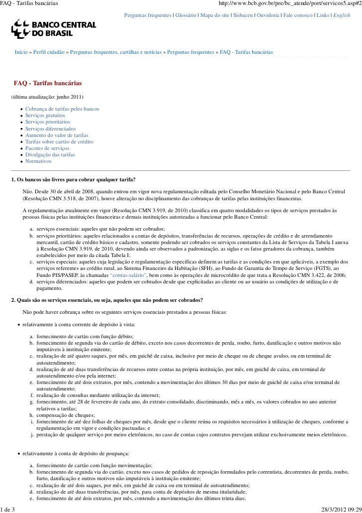 FAQ - Tarifas bancárias                                                                              http://www.bcb.gov.br...