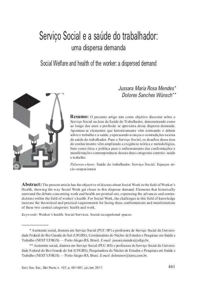 Serviço Social e a saúde do trabalhador: uma dispersa demanda  Social Welfare and health of the worker: a dispersed demand...