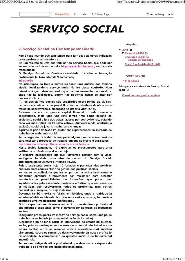 SERVIÇO SOCIAL: O Serviço Social na Contemporaneidade                               http://nandaseso.blogspot.com.br/2008/...
