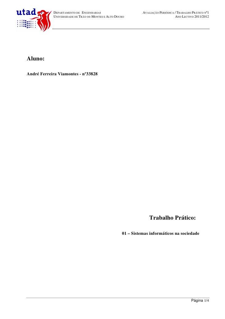 DEPARTAMENTO DE ENGENHARIAS                        AVALIAÇÃO PERIÓDICA / TRABALHO PRÁTICO Nº1            UNIVERSIDADE DE T...