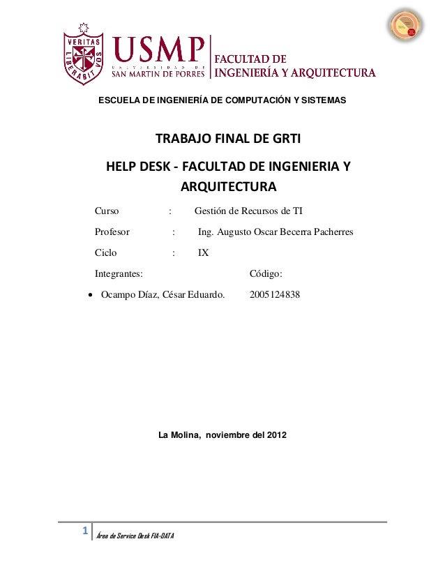 ESCUELA DE INGENIERÍA DE COMPUTACIÓN Y SISTEMAS                          TRABAJO FINAL DE GRTI       HELP DESK - FACULTAD ...
