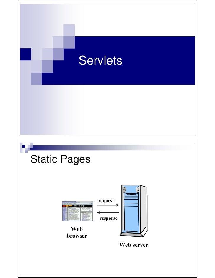 ServletsStatic Pages                 request                 response        Web       browser                            ...