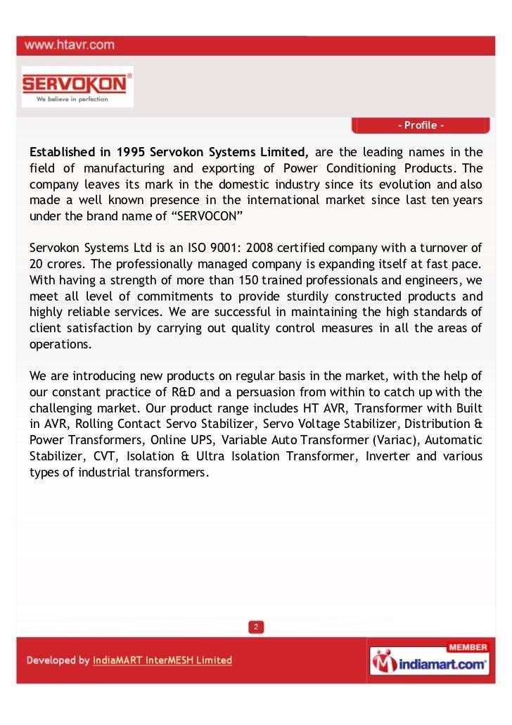 Servokon Systems Ltd., New Delhi, Power Conditioning Products Slide 2