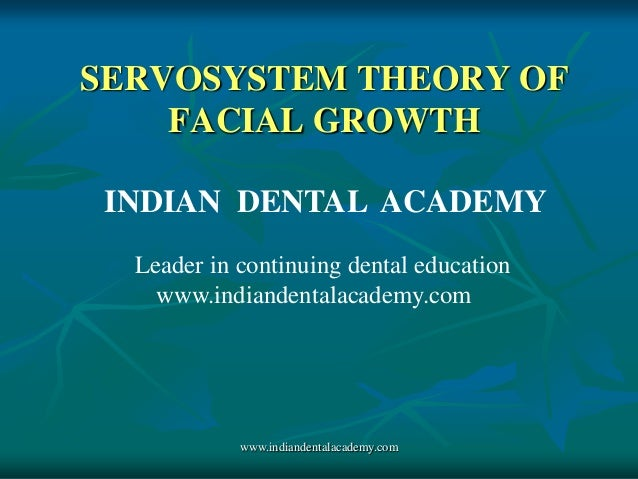 SERVOSYSTEM THEORY OF FACIAL GROWTH INDIAN DENTAL ACADEMY Leader in continuing dental education www.indiandentalacademy.co...