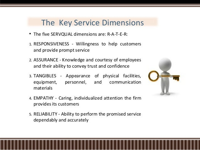 servqual 5 dimensions 13 dimensions of service quality: servqual model according to a parasuraman, vazeithaml, and llberry, it is during the service delivery that the quality of services is assessed and the contact with each customer implies as a chance to satisfy or dissatisfy the customer, a moment of truth.
