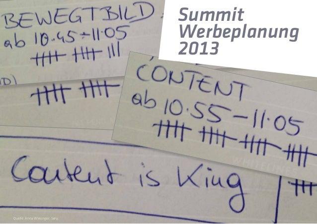 Summit Werbeplanung 2013 Quelle: Anna Wiesinger, Sery