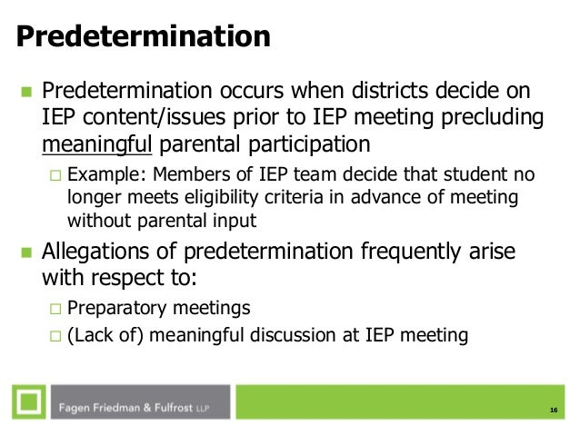 Predetermination In Iep Meeting >> Ses Fall 2015 Exiting Students From Special Education