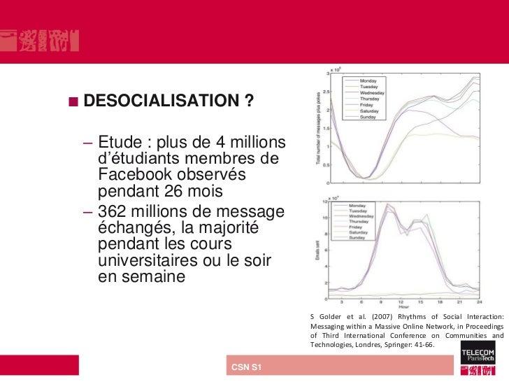  DESOCIALISATION           ? – Etude : plus de 4 millions   d'étudiants membres de   Facebook observés   pendant 26 mois ...