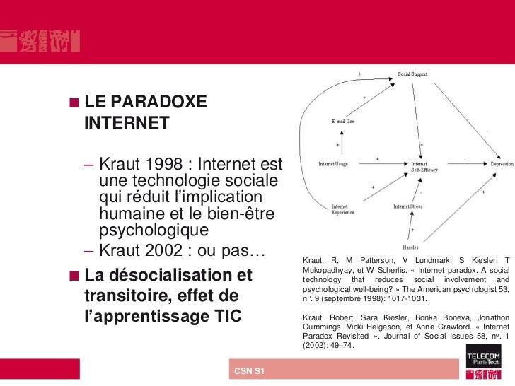  LE PARADOXE  INTERNET  – Kraut 1998 : Internet est     une technologie sociale     qui réduit l'implication     humaine ...