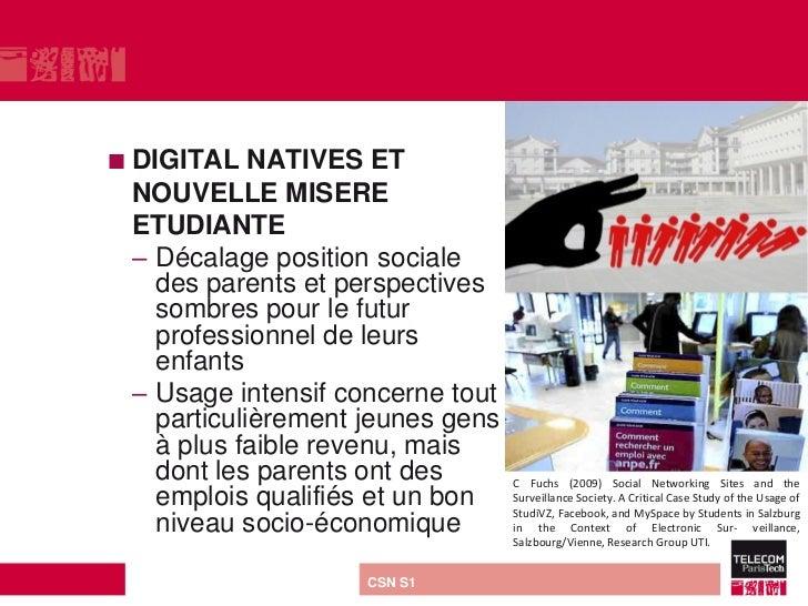  DIGITAL   NATIVES ET NOUVELLE MISERE ETUDIANTE – Décalage position sociale   des parents et perspectives   sombres pour ...
