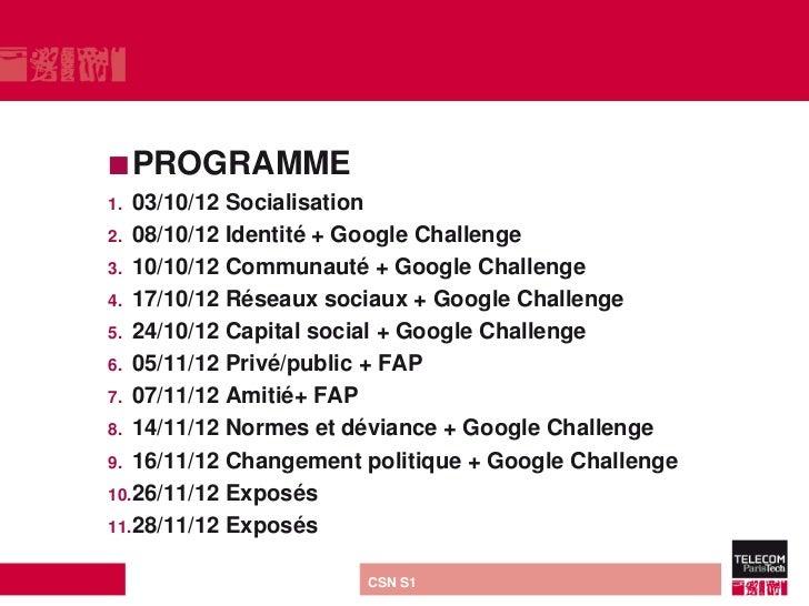  PROGRAMME1. 03/10/12 Socialisation2. 08/10/12 Identité + Google Challenge3. 10/10/12 Communauté + Google Challenge4. 17/...