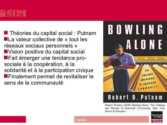  Théories du capital social : PutnamLa valeur collective de « tout lesréseaux sociaux personnels »Vision positive du ca...