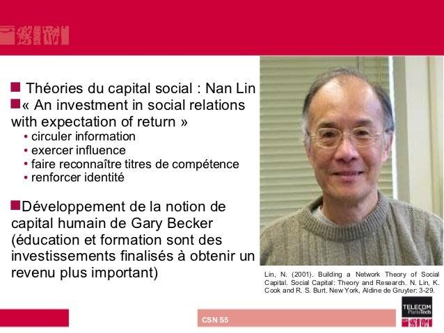  Théories du capital social : Nan Lin« An investment in social relationswith expectation of return »  • circuler informa...