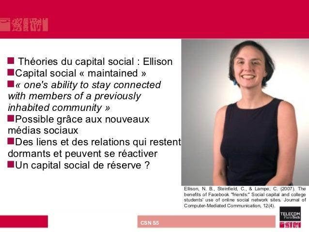  Théories du capital social : EllisonCapital social « maintained »«onesabilitytostayconnectedwithmembersofapr...
